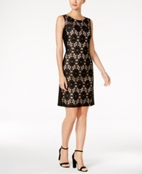 Nine West Lace Panel Sheath Dress Black Nude