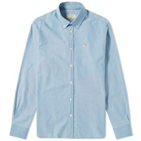 Maison Kitsune Fox Head Patch Button Down Chambray Shirt Blue