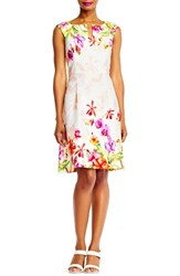 Adrianna Papell Women's Floral Fit And Flare Dress Red Purple Multi