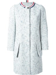 Thom Browne Sequin Collar Tweed Coat White