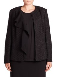 Basler Plus Size Metallic Tweed Ruffle Jacket Black
