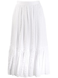 Tory Burch Tiered A Line Skirt White