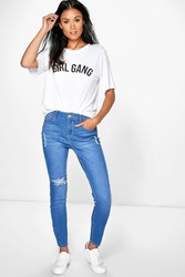 Boohoo Bright Blue Ripped Skinny Jeans Blue