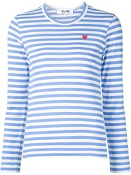 Comme Des Gara Ons Play Striped Embroidered Heart T Shirt Blue