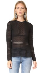 M Missoni Long Sleeve Peplum Blouse Black
