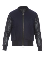 Ami Alexandre Mattiussi Teddy Leather And Wool Blend Bomber Jacket
