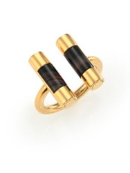 Michael Kors City Barrel Black Agate Open Ring Gold
