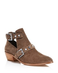 Rebecca Minkoff Abigail Suede Studded Booties Olive Silver