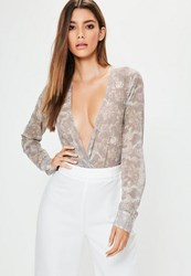 Missguided Tall Exclusive Mauve Dragon Print Wrap Bodysuit