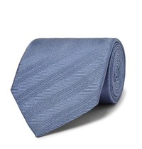 Dunhill 8Cm Striped Mulberry Silk Tie Blue