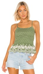 Tularosa Campbell Embroidered Top In Green. Moss Green Polka Dot