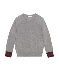 Gucci Wool V Neck Pullover Sweater Gray Size 6 12 Size 8