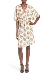 Women's Painted Threads Floral Print Surplice Flutter Sleeve Dress