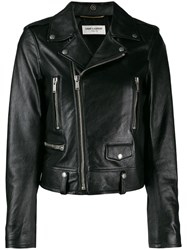 Saint Laurent Cropped Biker Jacket Black
