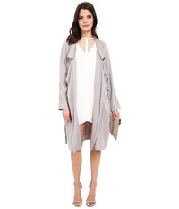 Bb Dakota Martha Draped Rayon Twill Longline Trench Coat Strorm Grey Women's Coat Gray
