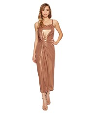 Halston Sleeveless High Square Neck Draped Jersey Dress Copper Women's Dress Bronze