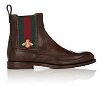 Gucci Men's Strand Leather Wingtip Chelsea Boots Dark Brown