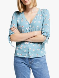 Boden Libby Floral Top Blue Painted Daisy
