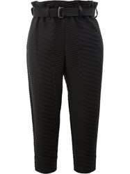 Issey Miyake Cropped Chevron Quilted Trousers Black