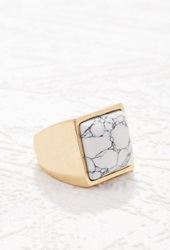Forever 21 Faux Stone Cocktail Ring Gold White