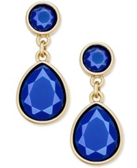 Charter Club Gold Tone Colored Stone Drop Earrings Only At Macy's Blue