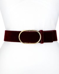 Frame Oval Ring Velvet Leather Belt Dark Red