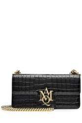Alexander Mcqueen Insignia Embellished Patent Leather Shoulder Bag Black
