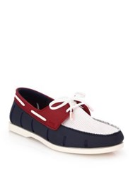 Swims Boat Loafers White White Navy Red