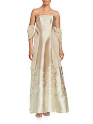 Theia Strapless Fit And Flare Gown Taupe