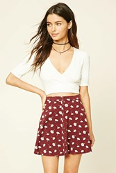 Forever 21 Floral Print Snap Button Mini Skirt