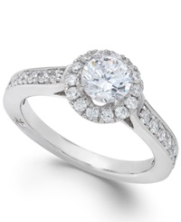 Estate Halo By Marchesa Certified Diamond Engagement Ring In 18K White Gold 1 1 4 Ct. T.W.