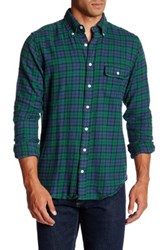 Gant Blackwatch Plaid Flannel Long Sleeve Trim Fit Shirt Blue