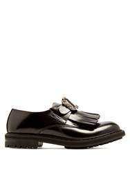 Alexander Mcqueen Embossed Buckle Leather Derby Shoes Black
