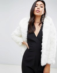 Missguided Faux Fur Hodded Coat White