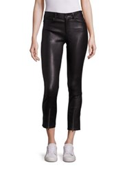 Helmut Lang Zip Cropped Leather Leggings Black