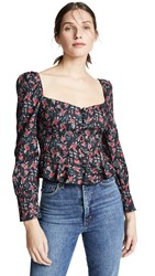 Lioness Sweethearts Top Black Based Red Floral