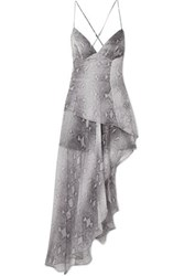 Amiri Asymmetric Layered Snake Print Silk Chiffon Maxi Dress Gray