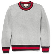 Gucci Stripe Trimmed Cotton Sweatshirt Gray