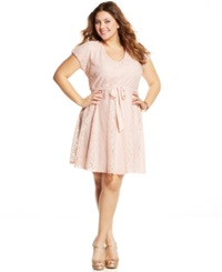 Love Squared Plus Size Short Sleeve Lace A Line Dress Peach