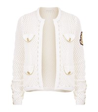 Balmain Pierre Open Knit Cardigan Female White