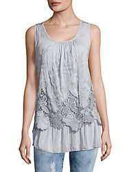 Saks Fifth Avenue Lace Embroidered Overlay Top Light Grey