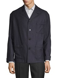 Valentino Pinstriped Buttoned Sportcoat Navy