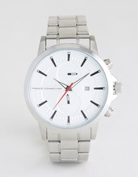 French Connection Silver Watch With Multi Functional Dial Silver