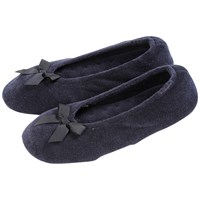 Totes Terry Ballet Slippers Navy