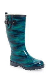 Chooka Women's 'Electric Ikat' Rain Boot Navy Green Glossy