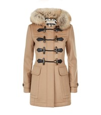 Burberry Fur Trim Wool Duffle Coat Female Camel