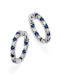 Bloomingdale's Sapphire And Diamond Inside Out Hoop Earrings In 14K White Gold