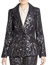 Oscar De La Renta Metallic Embroidered Blazer Navy