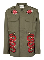 Topman Green Finds Khaki And Red Snake Patch Jacket