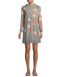 Kate Spade Blossom Long Sleeve Hooded Sweatshirt Dress Gray